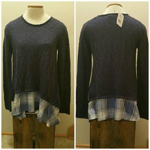 Blue Shirt tail sweater. New. Size Med.
